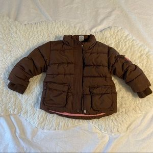 GAP Toddler Brown Puffer Coat w/ Fleece Lining 3T